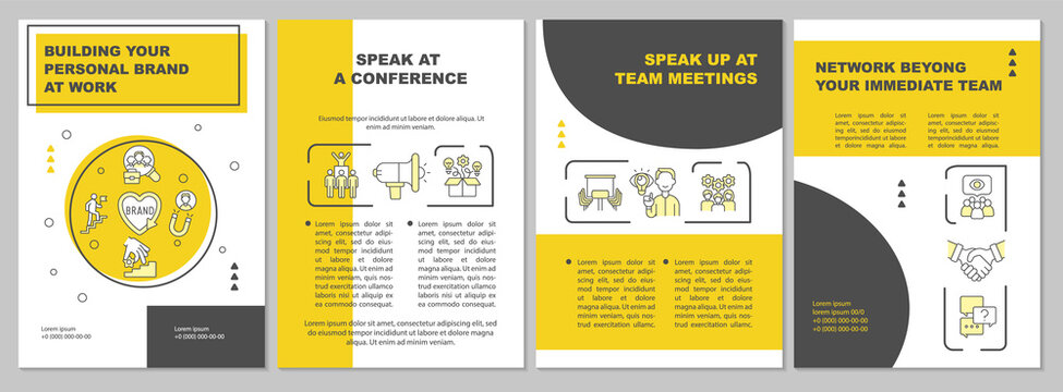 Building your personal brand at work yellow brochure template. Flyer, booklet, leaflet print, cover design with linear icons. Vector layouts for presentation, annual reports, advertisement pages