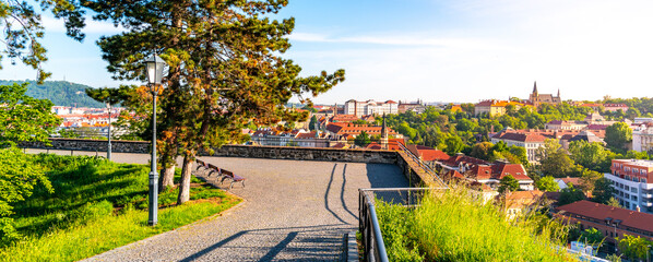 Cobbled walkway on Vysehrad fortification walls. Prague, Czech Republic