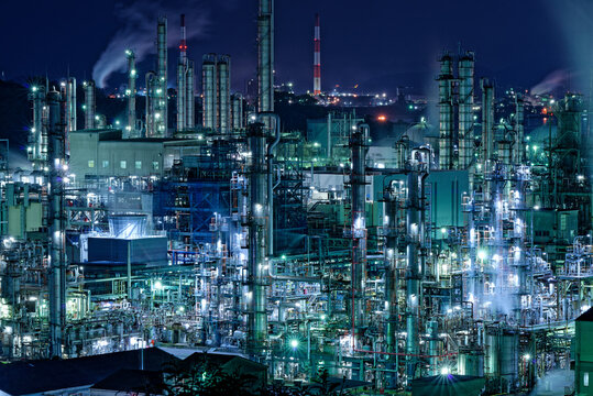 The Glittering Brilliance Of A Chemical Factory.