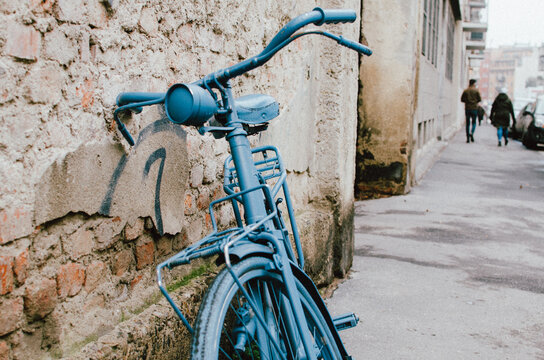 Close-up Of Bicycle In City