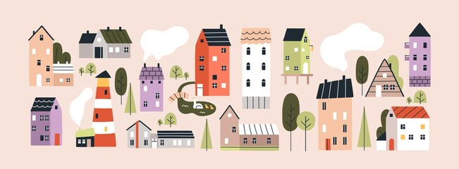 Obraz Set of isolated cute tiny houses, small buildings and trees in Scandinavian style. Trendy urban and village homes with windows, roof tiles and chimneys with smoke. Colored flat vector illustration - fototapety do salonu