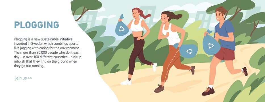Web banner about plogging with people jogging and picking garbage into trash bags. Men and women running and cleaning environment from litter. Green activity concept. Colored flat vector illustration