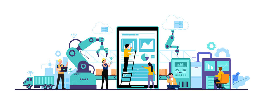 Worker human working with technology smart industry 4.0