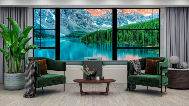 Modern living room with mountain lake sunrise view in windows, photorealistic 3D Illustration of the interior, suitable for using in video conference and as a zoom background.