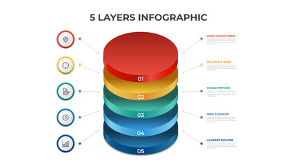 Obraz 5 layers infographic element template vector, vertical list diagram for presentation layout, etc. - fototapety do salonu
