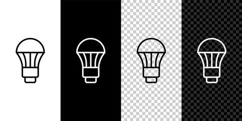Fototapeta Set line LED light bulb icon isolated on black and white, transparent background. Economical LED illuminated lightbulb. Save energy lamp. Vector obraz