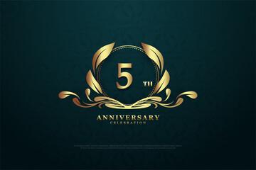 Obraz 5th anniversary background illustration. - fototapety do salonu
