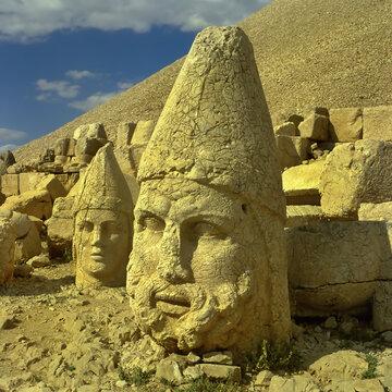 Heads of the statues on Mount Nemrut Dagi in Turkey. The mausoleum of Antiochus I (69–34 B.C.) - UNESCO World Heritage Site