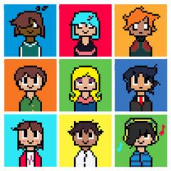 Cute Pixel Face Portrait Set Illustration Vector Art