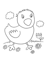 Baby Chicken Coloring Book Page Vector Illustration Art