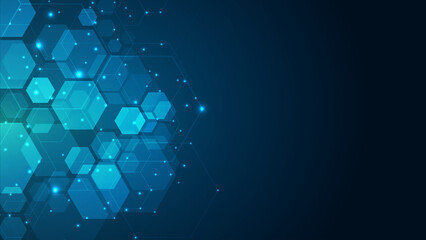 Obraz Abstract cube hexagon shape background. Digital technology concept - fototapety do salonu