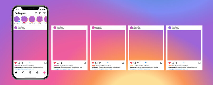 Instagram carousel post template on smartphone mockup. Mobile app interface with blank pictures, editable posts. Scroll frame pages, social media photography. Isolated UI vector design.