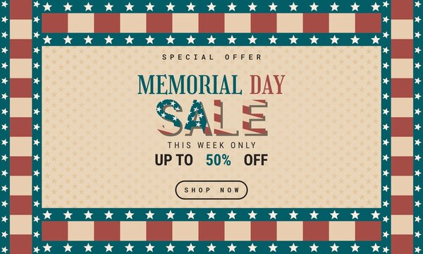 Retro style Memorial Day Background Special Offer Sale Promotion Advertising Banner Template Design