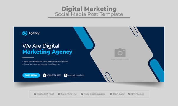 Digital marketing agency facebook cover photo design with creative shape or web banner for digital marketing business