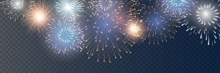 Obraz Vector Brightly Colorful Fireworks on the background of the night sky. - fototapety do salonu