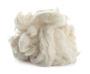 Heap of clean wool isolated on white