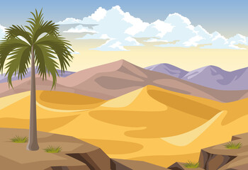 Obraz desert with palm - fototapety do salonu