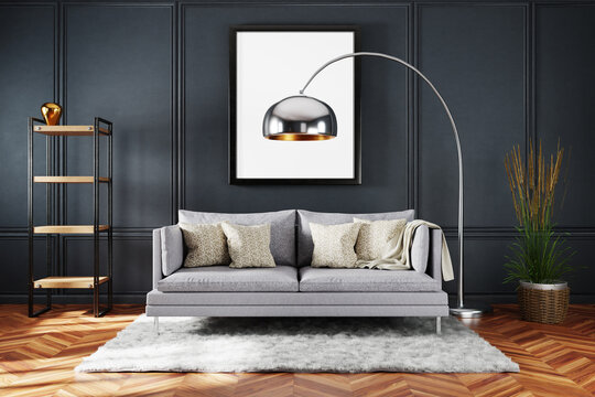 stylish minimalistic living room interior with scandinavian and industrial style decor; grey vintage sofa and dark wall; large empty canvas; 3D Illustration