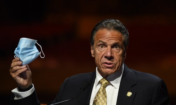 Andrew Cuomo at the press conference for New York Governor Andrew Cuomo Lifts Covid-19 Mask Mandate