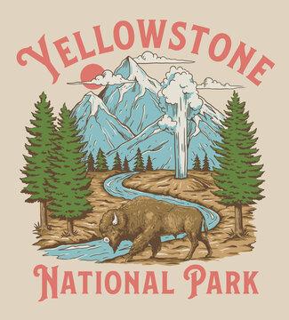 Vintage Yellowstone National Park Bison Mountain Geyser Scene