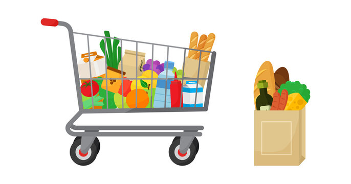 Grocery purchase vector set. Shopping trolley, paper package with groceries. Foods and drinks, vegetables and fruits, bakery products. Supermarket illustration