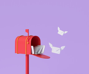 Obraz 3D Red mailbox with flying envelope, mail delivery, and newsletter concept. 3d render illustration - fototapety do salonu