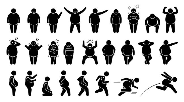 Overweight fat man basic poses and postures stick figure character pictogram. Vector illustrations depict obese men or human male with different emotions, feelings, poses, actions, and movements.