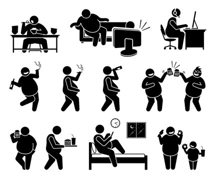 Fat man leading an unhealthy lifestyle. Vector illustrations of obese man overeating, sedentary lifestyle, inactive, drinking alcohol beer, smoking cigarette, eating unhealthy food, and sleeping late.