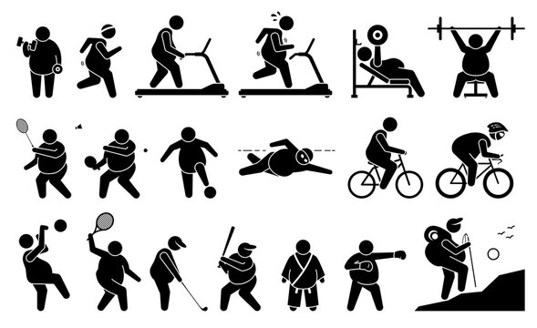 Fat man exercise at gym and playing sport for weight loss, fitness, and active lifestyle. Vector illustrations depict obese man exercising, workout, and playing