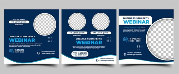 Obraz Webinar Social media post design template. Modern conference banner template with blue background and place for the photo. Vector design isolated - fototapety do salonu