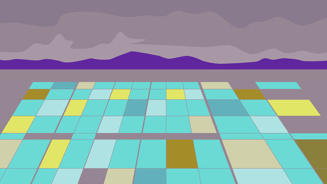 WPA poster art of a separation pond at a lithium extraction mine with mountains in background done in works project administration or federal art project style.