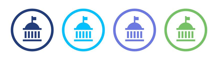 Government icon set, vector illustration
