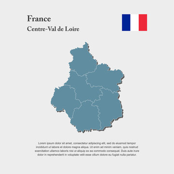 Map region country France, Centre Loire Valley