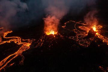 Aerial view of fresh lava streams from volcano eruption in Geldingadalur, Iceland. Fototapete