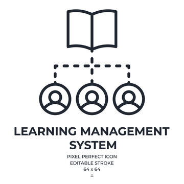 LMS learning management system icon editable stroke outline icon isolated on white background flat vector illustration. Pixel perfect. 64 x 64.