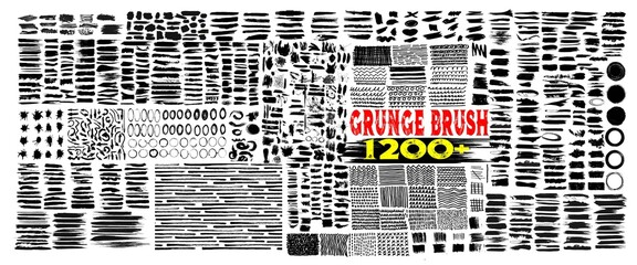 Fototapeta Grunge brush strokes. 1200+Brush strokes bundle. rectangle, square and round freehand drawings. Ink splatters, grungy painted lines, artistic design elements: circle, triangles. Vector paintbrush set. obraz