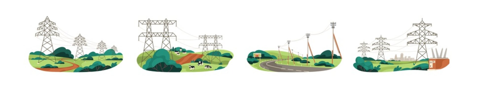 Set of city and nature landscapes with high-voltage electric power towers for energy transmission and distribution. Colored flat vector illustration of powerline network isolated on white background