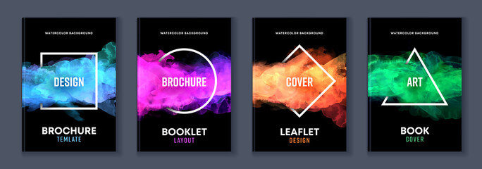 Fototapeta Watercolor booklet brochure colourful abstract layout cover design template bundle set with black background and geometric frame obraz