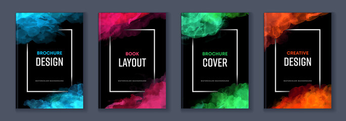 Fototapeta Watercolor booklet brochure colourful abstract layout cover design template bundle set with black background and frame obraz