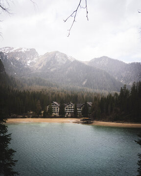 Hotel at a lake and mountains