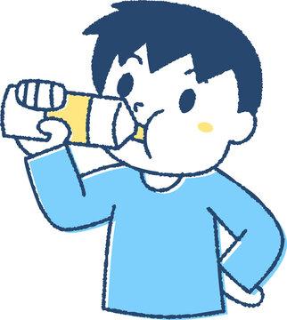 熱中症対策で水分補給する子ども