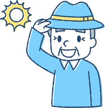 熱中症対策で帽子をかぶる老人