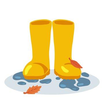 Yellow rubber rain boots