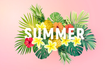 Summer tropical vector design for banner or flyer with exotic palm leaves, hibiscus flowers and typography. - fototapety na wymiar