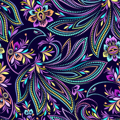 Beautiful seamless colorful dotted pattern with magic birds. Traditional ethnic ornament. Vector print. Use for wallpaper, pattern fills,textile design.