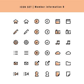 シンプルアイコンセット:会員情報や登録B