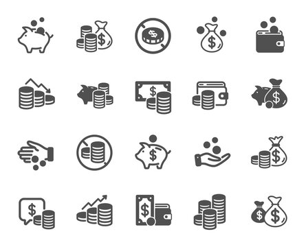 Coins simple icons. Cash money, Donation coins, Give tips icons. Piggy bank, Business income, Loan. Money savings, give coin, cash tips. Investment profit, growth chart, financial crisis. Vector
