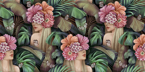 Tropical seamless pattern with beautiful blonde women, bouquets of hibiscus, plumeria, cactus flowers, monstera, palm, banana leaves, butterflies. Hand-drawn vintage 3D illustration for lux wallpapers