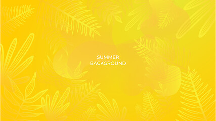 Fototapeta Colourful minimal summer background with flowers and tropical summer leaf. Luxury minimal style wallpaper with golden line art flower and botanical leaves, Organic shapes. Summer sale banner vector obraz