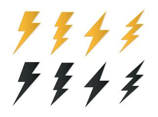 Set lightning bolt icons, Thunderbolt flat style, yellow flash thunder symbols , electric thunderbolt, lighting, electric charge icon for apps and websites  - fototapety na wymiar